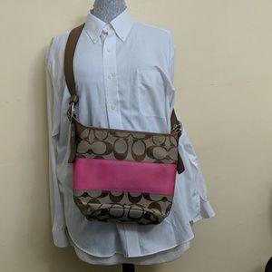Pink and tan coach bag
